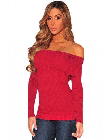 Wine Knit Off Shoulder Ribbed Long Sleeves Top