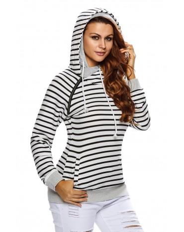 Black White Stripe Double Hooded Sweatshirt