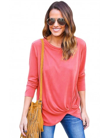 Rosy Long Sleeves Drape Top
