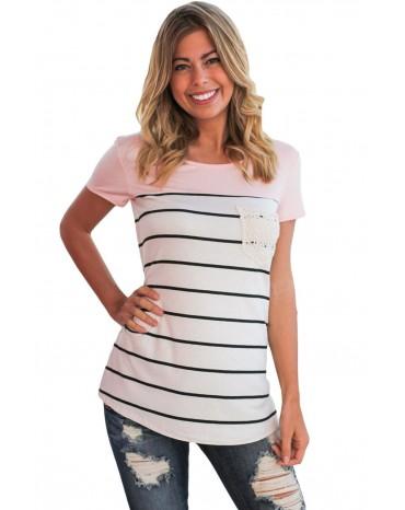 Pink Splice Striped Short Sleeve T-shirt