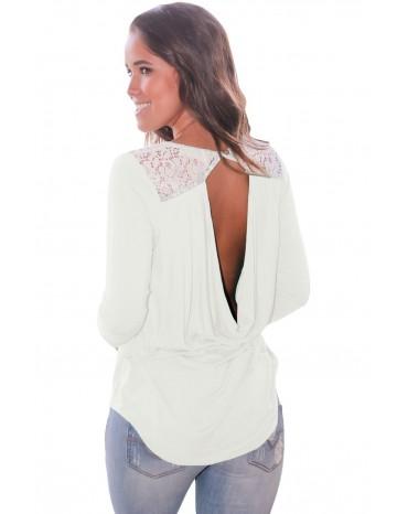 White Lace Shoulder Low Cut Back Top