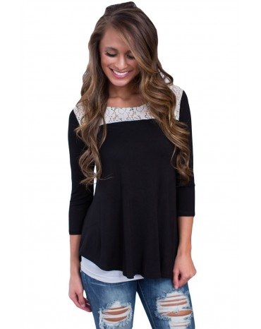 Black Lace Shoulder Low Cut Back Top