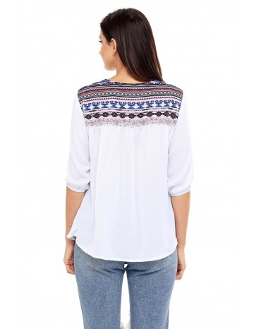 Delicate Printed Neck 3/4 Sleeve White Crepe Top
