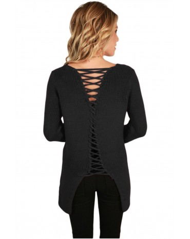 Black Never Look Back Lace Up Sweater