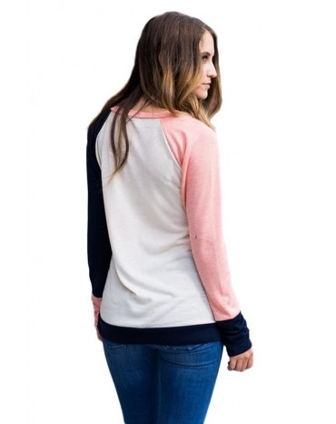 Coral Navy Splice White Long Sleeve Top