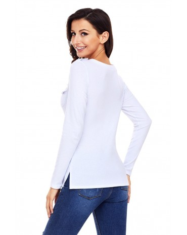 White Button Long Sleeve Top with Pockets