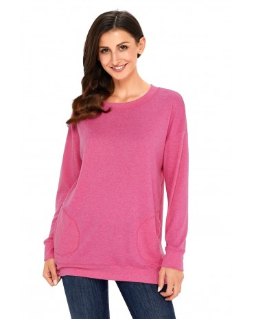 Pink Casual Pocket Style Long Sleeve Top