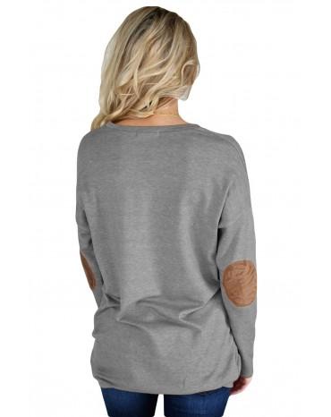 Gray Elbow Patch Sweatshirt