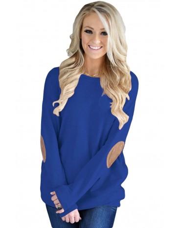 Blue Elbow Patch Sweatshirt