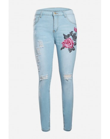 Rose Embroidery Distressed Light Blue Skinny Jeans