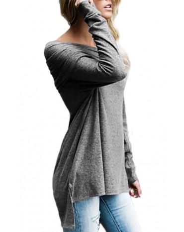 Grey Ruched Off Shoulder Long Sleeve Top