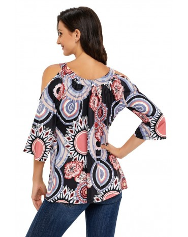 Dark Boho Print Half Sleeve Cold Shoulder Blouse