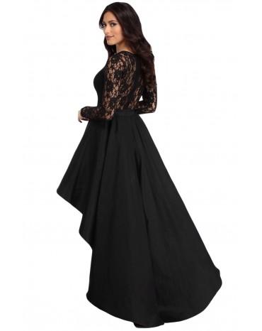 4ef54068097f Black Long Sleeve Lace High Low Satin Prom Dress