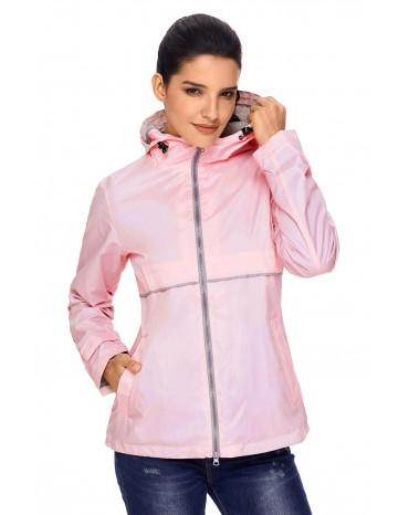 Light Coral Women Zipper Lapel Suit Blazer with Foldable Sleeve