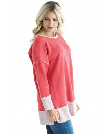 Red Two Tone French Terry Sweatshirt