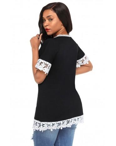 Delicate Lace Trim Black Short Sleeve Top