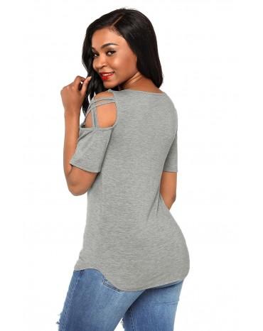 Grey Crisscross Cold Shoulder Short Sleeve Shirt