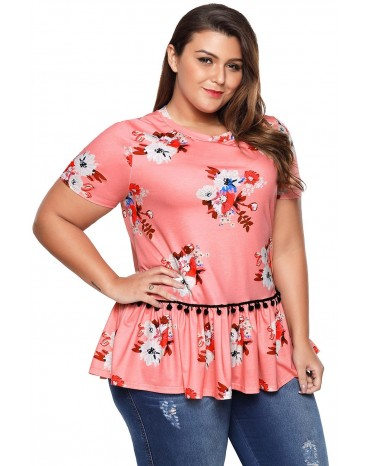 Pink Floral Print Short Sleeve Plus Size Top