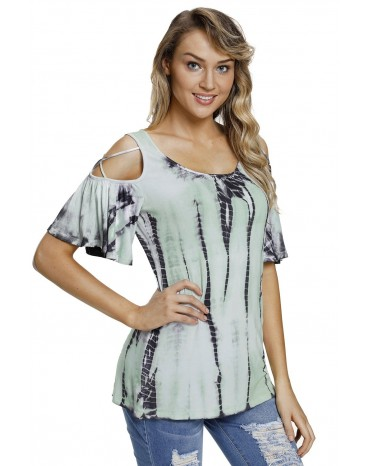 ec3a748c39a254 ... Mint Tie Dye Print Crisscross Cold Shoulder Top ...