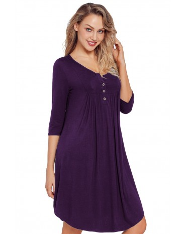 Purple Quarter Sleeve Casual Tunic Dress