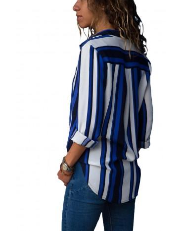Blue White Striped Long Sleeve Button Down Shirt