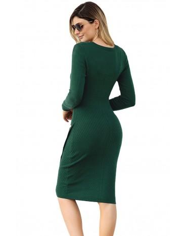 Green Button Detail Sweater Dress