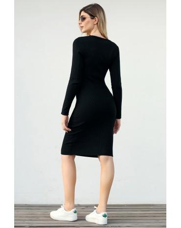 Black Button Detail Sweater Dress