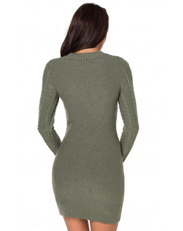 690508e448b Army Green Slouchy Cable Sweater Dress