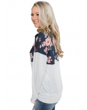Floral Splice White Kangaroo Pocket Zip Collar Sweatshirt
