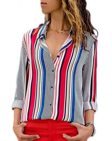 Red Blue Striped Modern Women Shirt