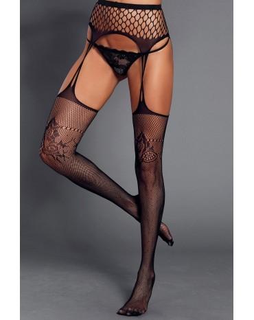 Black Floral Mesh and Fishnet Suspender Pantyhose