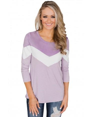 Lilac White Striped and Chevron Colorblock Top