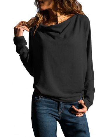 Solid Black Concise Pullover Sweatshirt