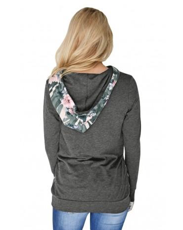 Charcoal Kangaroo Pocket Floral Hoodie