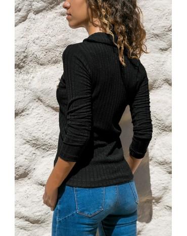 Black Ribbed Knit Turn Down Collar Top