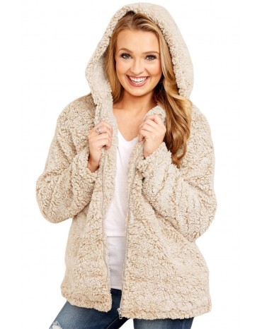 Khaki Zip Down Furry Hooded Jacket