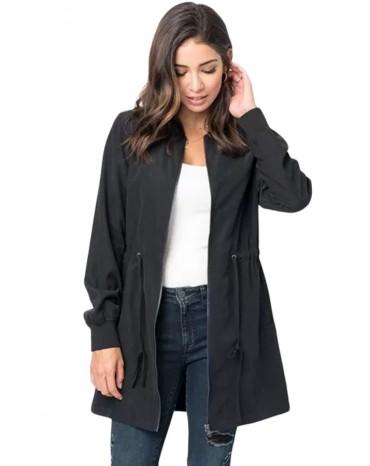 Black Drawstring Waist Lightweight Outcoat