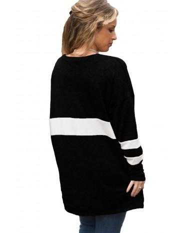 Black V Neck Chunky Stripe Sweatshirt