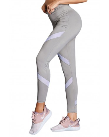 White Gray Patchwork High Waist Gym Leggings