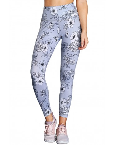 Gray Floral Print Allover High Waist Leggings