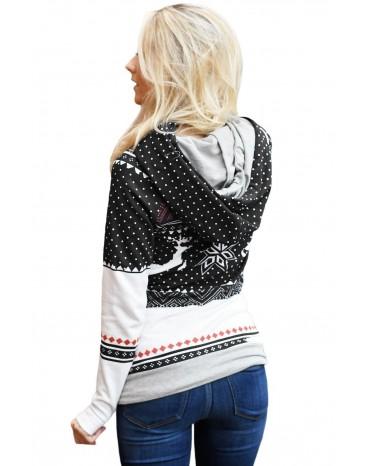 Black Snow Reindeer Double Hooded Sweatshirt