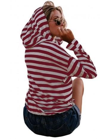 Burgundy Kangaroo Pocket Striped Hoodie