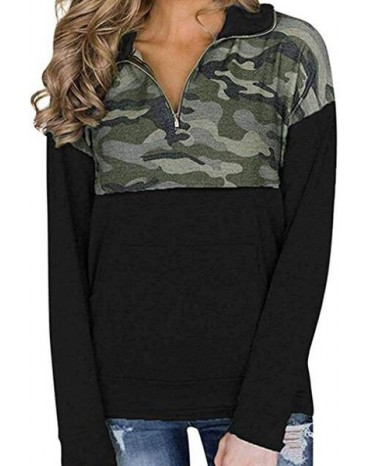 Camo Splice Black Kangaroo Pocket Zip Collar Sweatshirt