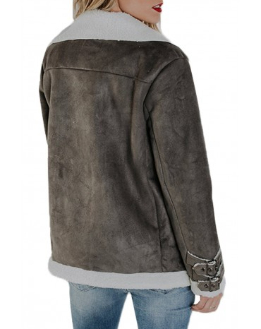 Gray Faux Suede Jacket with Zipper Pockets