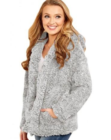 Gray Zip Down Furry Hooded Jacket