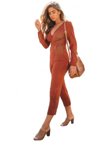 5f449bb0f3a9 Red Striped Wrap V Neck Long Sleeve Jumpsuit