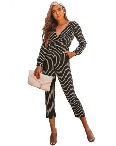 Black Striped Wrap V Neck Long Sleeve Jumpsuit