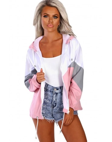 Pink Hooded Triple Color Block Sporty Jacket