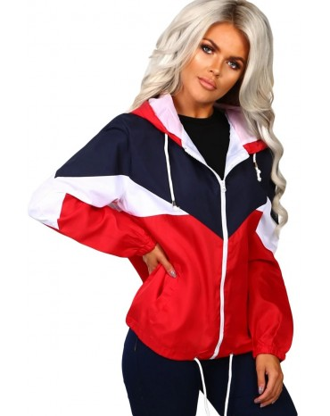 Red Hooded Triple Color Block Sporty Jacket
