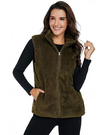 Olive Green Furry High Neck Vest Jacket